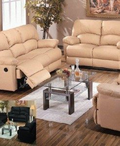 5 Recliner Leather Match Sofa Set