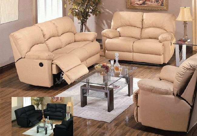 5 Recliner Leather Match Sofa Set 1
