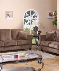 3 Pc. Sofa Set In Micro Fiber Velvet (5 Cusions Included)